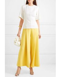 Pantalon Large En Crêpe De Laine À Plis Emilia Wickstead en coloris Yellow