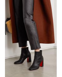 Christian Louboutin Black Turela 85 Ankle Boots Aus Leder Mit Eidechseneffekt