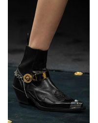 Versace Black Ankle Boots Aus Leder Mit Verzierung