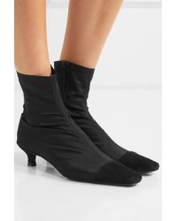 By Far Black Karl Sock Boots Aus Stretch-satin Mit Velourslederbesatz