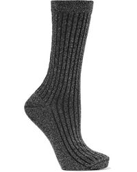 Isabel Marant Lily Ribbed Metallic Knitted Socks