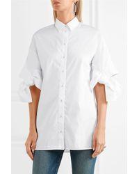 Victoria, Victoria Beckham White Bow-detailed Cotton-poplin Shirt