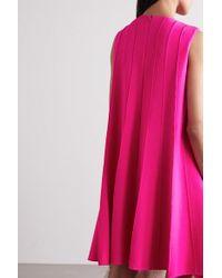 Oscar de la Renta Pink Neonfarbenes Minikleid Aus Crêpe Aus Einer Wollmischung Mit Falten
