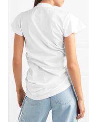 Marques'Almeida White Asymmetric Ruffled Two-tone Cotton-jersey T-shirt