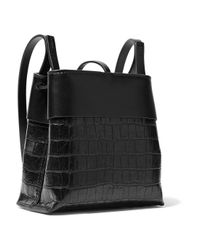 Kara - Black Nano Tie Matte And Croc-effect Patent-leather Shoulder Bag - Lyst