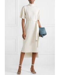 Co. Natural Belted Stretch-wool Turtleneck Midi Dress