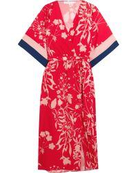 Borgo De Nor Red Raquel Floral-print Crepe De Chine Midi Dress