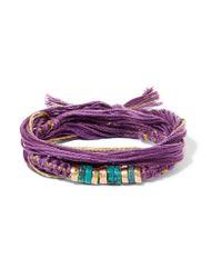 Aurelie Bidermann - Purple Takayama Cotton, Gold-plated And Turquoise Wrap Bracelet - Lyst