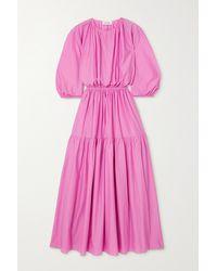 Matteau Pink + Net Sustain Tiered Organic Cotton-poplin Maxi Dress