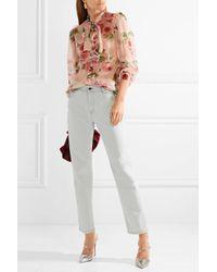 Dolce & Gabbana - Pink Pussy-bow Floral-print Silk-chiffon Blouse - Lyst