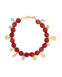 Carolina Bucci - Red Recharmed Lucky 18-karat Yellow, Rose And White Gold And Agate Bracelet - Lyst