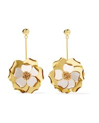 Oscar de la Renta - Metallic Petunia Gold-tone, Bead And Acetate Earrings - Lyst