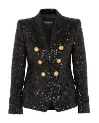 Balmain Black Double-breasted Sequinned Chiffon Blazer
