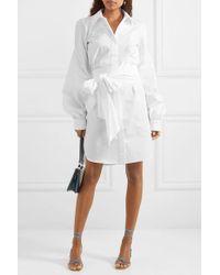 Antonio Berardi White Kleid Aus Baumwollpopeline Zum Binden