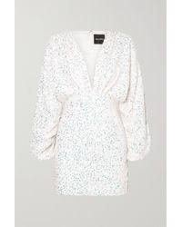 retroféte White Aubrielle Sequined Chiffon Mini Dress