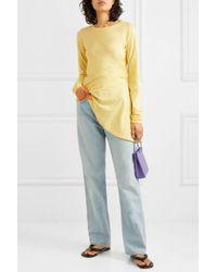 Haut Asymétrique En Jersey De Coton À Fronces MM6 by Maison Martin Margiela en coloris Yellow