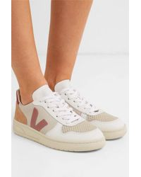 Veja White + Net Sustain V-10 Mesh, Suede And Leather Sneakers
