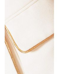 Balmain White Button-embellished Woven Mini Skirt