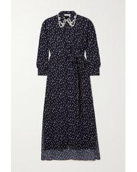 Chloé Blue Floral-print Crepe De Chine Midi Dress