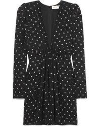 Mini-robe En Crêpe À Pois Et À Paillettes Saint Laurent en coloris Black