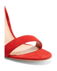 Gianvito Rossi - Red Portofino Suede Sandals - Lyst