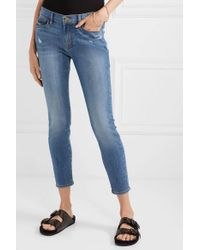 FRAME Blue Le Skinny De Jeanne Crop Halbhohe Jeans Mit Distressed-details