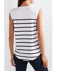 Balmain White Button-embellished Striped Cotton-jersey Top