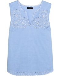 J.Crew - Blue Broderie Anglaise Cotton-poplin Top - Lyst