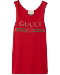 Gucci Red Printed Cotton-jersey Tank