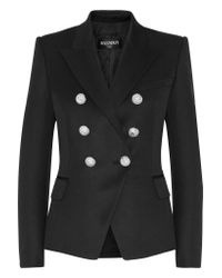 Balmain - Black Double-breasted Wool Blazer - Lyst
