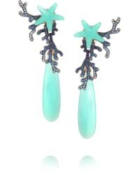 Lydia Courteille - Blue 18-karat White Gold, Sapphire And Agate Earrings - Lyst