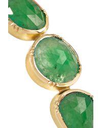 Brooke Gregson - Metallic Triple Orbit 18-karat Gold, Emerald And Silk Bracelet - Lyst