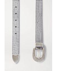 Andersons Gray Taillengürtel Aus Leder Mit Krokodileffekt