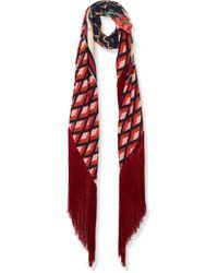 Gucci | Multicolor Fringed Printed Silk-twill Scarf | Lyst