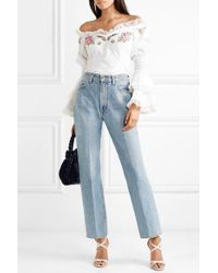 Alice McCALL White Bon Voyage Off-the-shoulder Embroidered Cotton Blouse