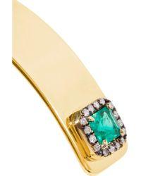 Jemma Wynne - Metallic 18-karat Gold, Emerald And Diamond Cuff - Lyst