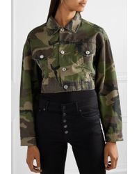 Re/done Green Cropped Camouflage-print Denim Jacket