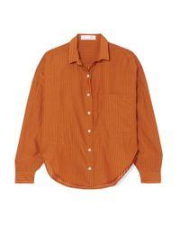 Tre by Natalie Ratabesi Orange The Iris Gestreiftes Hemd Aus Voile Aus Einer Mischung Aus Wolle, Baumwolle Und Seide