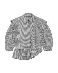 Preen By Thornton Bregazzi - Black Sinead Ruffled Striped Cotton Shirt - Lyst