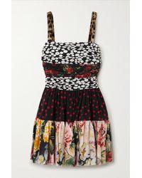 Dolce & Gabbana Black Ruched Patchwork Silk-blend Crepe De Chine Mini Dress