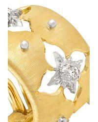 Buccellati Metallic Macri Giglio 18-karat Yellow And White Gold Diamond Hoop Earrings