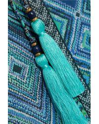 Matthew Williamson - Blue Pom Pom-trimmed Silk-chiffon Maxi Dress - Lyst