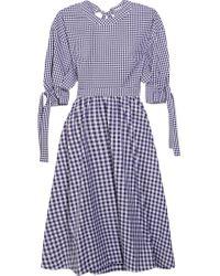 Robe Dos Ouvert En Coton à Carreaux Vichy Rosetta Getty en coloris Blue