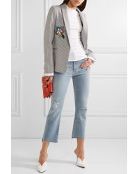 Mother Blue The Insider Crop Distressed High-rise Flared Jeans