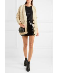 Saint Laurent | White Oversized Chunky-knit Wool Cardigan | Lyst