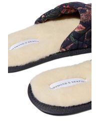 Desmond & Dempsey Blue Soleia Set Aus Slippers Und Schlafmaske