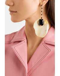 Marni - Metallic Gold-plated Horn And Crystal Earrings - Lyst