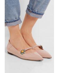 Fendi Multicolor Appliquéd Patent-leather Point-toe Flats