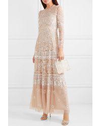 Robe Du Soir En Tulle À Sequins Et À Volants Aurora Needle & Thread en coloris Natural