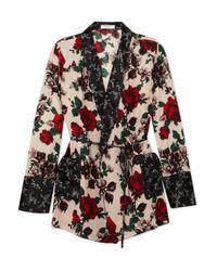 Equipment Pink Theron Floral-print Silk Robe